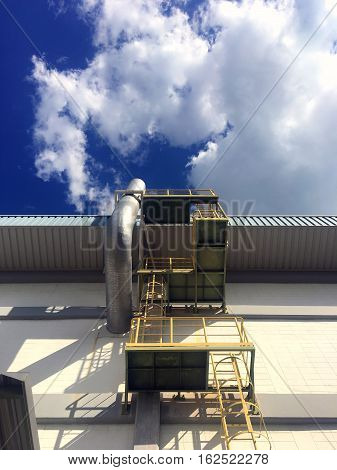 Ladder factory tower ,Chimney smoke of factory