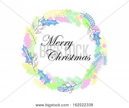 Christmas wreath vector illustration in pastel color palette. Hand-drawn Christmas ornament. Christmas wreath with holly and oak leaf. Fir tree and leaf wreath. Merry Christmas banner or card template