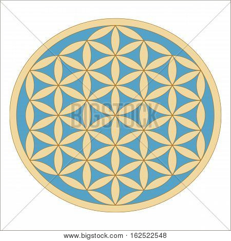 Sacred Geometry. Ancient gold Flower of Life symbol on a turquoise background. Flower with six petals. The ancient symbol of the Seed of Life.