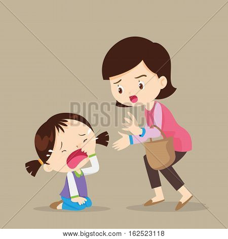 Cute girl crying and Her Mom Comforting Upset.cartoon vector illustration.