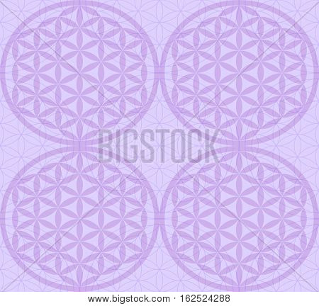 Seamless pattern with purple sacred symbol of the Flower of Life. Flower with six petals. The ancient symbol of the Seed of Life.