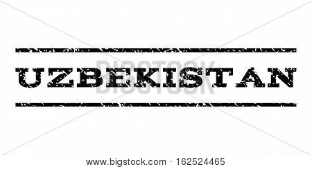 Uzbekistan watermark stamp. Text caption between horizontal parallel lines with grunge design style. Rubber seal stamp with dirty texture. Vector black color ink imprint on a white background.