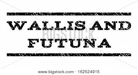 Wallis and Futuna watermark stamp. Text tag between horizontal parallel lines with grunge design style. Rubber seal stamp with dirty texture. Vector black color ink imprint on a white background.