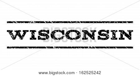 Wisconsin watermark stamp. Text caption between horizontal parallel lines with grunge design style. Rubber seal stamp with unclean texture. Vector black color ink imprint on a white background.