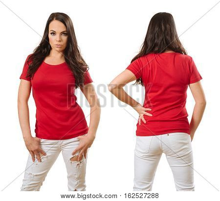 Photo of a woman posing with a blank red t-shirt ready for your artwork or design.