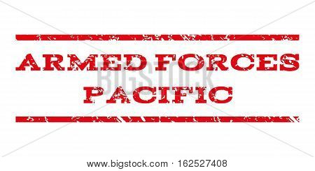 Armed Forces Pacific watermark stamp. Text tag between horizontal parallel lines with grunge design style. Rubber seal stamp with dust texture.