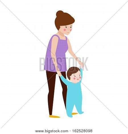 Young mother and baby vector characters and happy parent. Togetherness newborn face parenting lifestyle cheerful motherhood. Adorable healthy happiness family portrait.