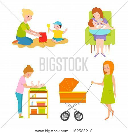 Young mother vector characters and happy parent. Togetherness newborn face parenting lifestyle cheerful motherhood. Adorable healthy happiness family portrait.