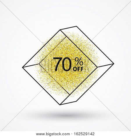 Gold glitter particles.White background with frame sales, and discounts of 70 percent.Background for store, web, poster, price tag.Marketing ploy