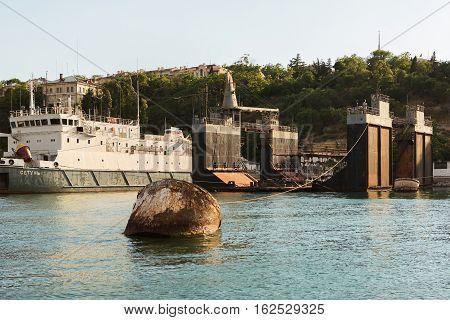 Sevastopol, Russia - June 09, 2016: Ship repair dock in the Bay Black Sea.