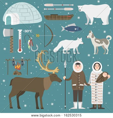Cute animals and eskimos wild north people. Childish vector illustration arctic set. Snow wildlife cold polar bear mammal. Siberian character funny design.