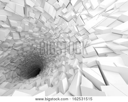 3D White Tunnel Interior With Black Hole