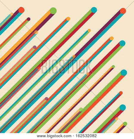 retro abstract multicolorful line with colorful dotty