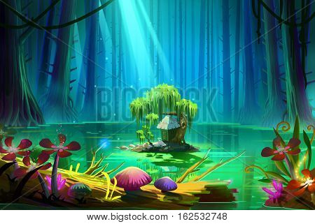 Who Lives there in the Middle of the Lake inside the Deep Forest. Video Game's Digital CG Artwork, Concept Illustration, Realistic Cartoon Style Background