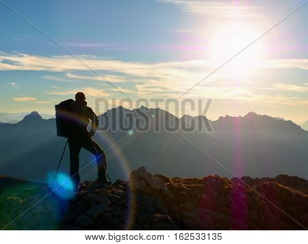 Lens Flare. Hiker Takes Selfie Photo. Tourist At Peak