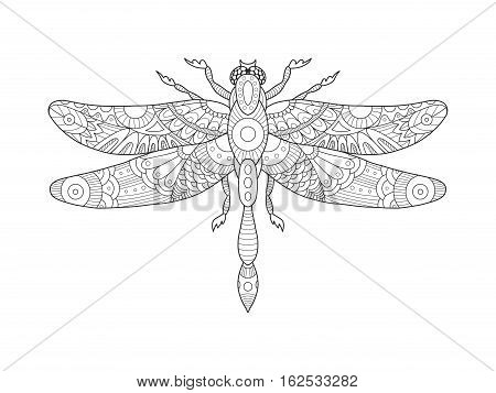Dragonfly coloring book for adults vector illustration. Anti-stress coloring for adult. Tattoo stencil. Zentangle style. Black and white lines. Lace pattern