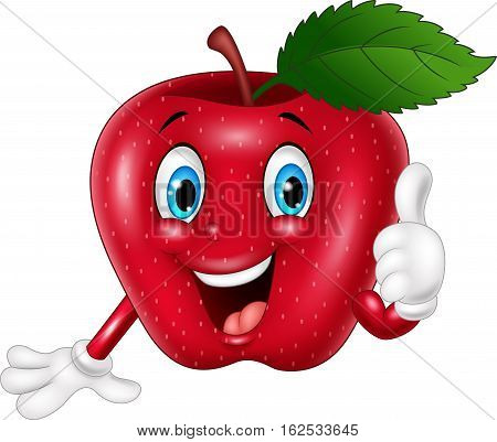 Vector illustration of Cartoon red apple giving thumbs up