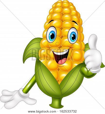 Vector illustration of Cartoon corn giving thumbs up