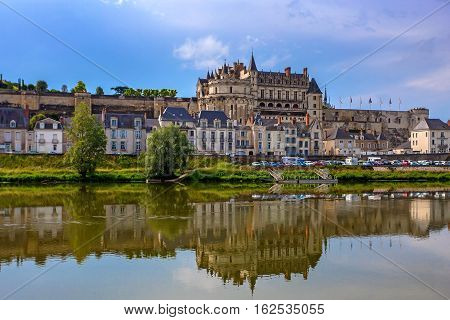 Closeup scenic photography of Amboise castle in France
