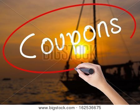 Woman Hand Writing Coupons Black Marker On Visual Screen