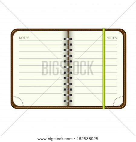 Template Open a blank notepad. Vector personal organizer with a bookmark. Isolated on white background.
