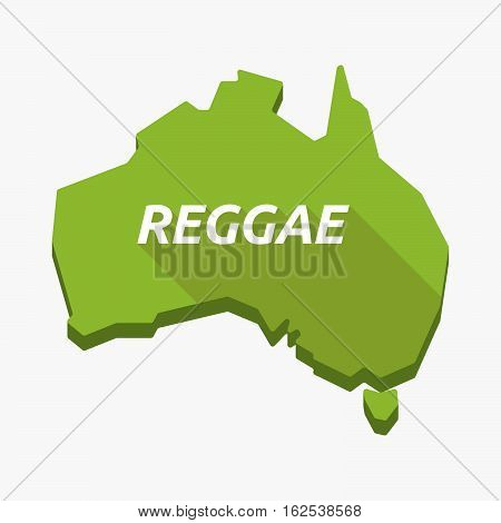 Isolated Australia Map With    The Text Reggae