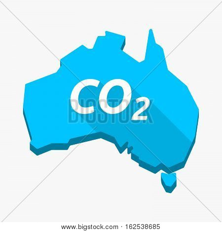 Isolated Australia Map With    The Text Co2