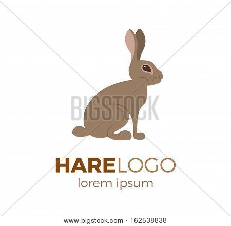 Flat vector hare logo isolated on white background. Colorful illustration of forest hare for your company logo or label. Flat style European forest animal collection