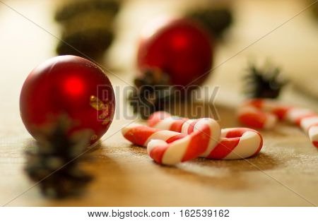 Christmas cookies with festive decoration with candy on wooden background and Christmas decorations