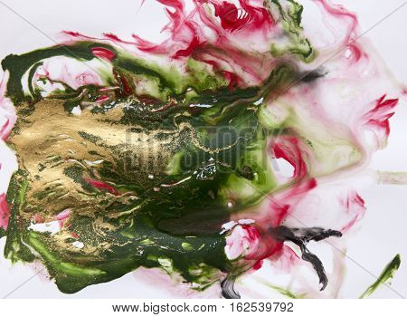 Amazing artwork green texture. Unique artwork marble background. Liquid marbled green pattern with golden dust.