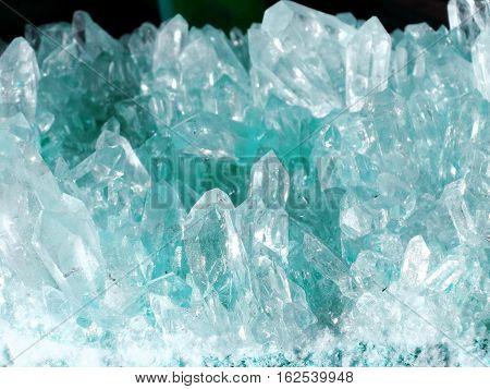 aquamarine quartz semigem geode crystals geological mineral isolated