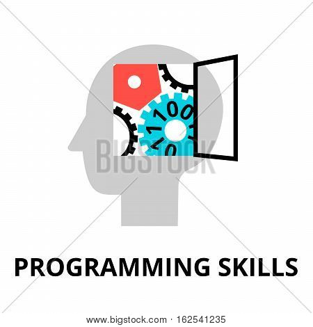 Modern flat editable line design vector illustration concept of programming skills icon for graphic and web design