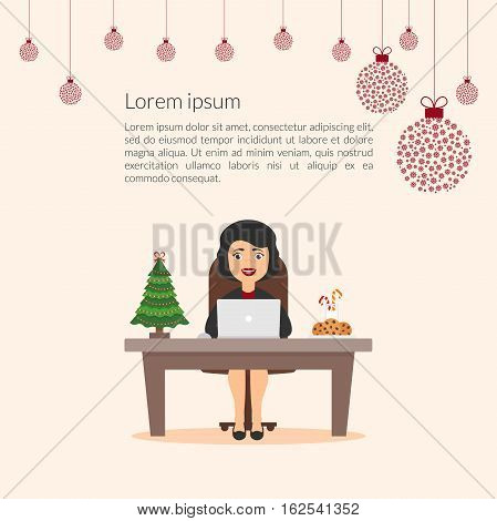 Lovely beautiful cartoon character businesswoman. Elegant girl Secretary assistant. Merry Christmas and happy New Year decorated the office workplace. Christmas illustration. Flat design vector.