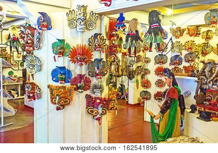 AMBALANGODA SRI LANKA - DECEMBER 5 2016: The store next to the Mask Museum offers wide range of traditional wooden masks the popular local souvenir on December 5 in Ambalangoda.