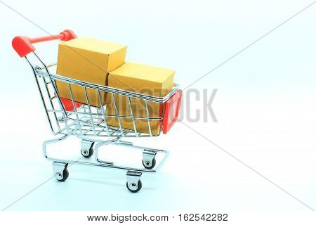 single supermarket trolley or shopping cart with two brown boxs for use with cargo or supermarket and General Factory
