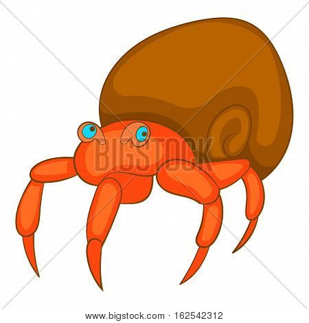 Hermit crab icon. Cartoon illustration of crab vector icon for web design