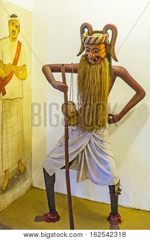 AMBALANGODA SRI LANKA - DECEMBER 5 2016: The costume and mask of Anabera Kolama for traditional Kolam Dance on December 5 in Ambalangoda.