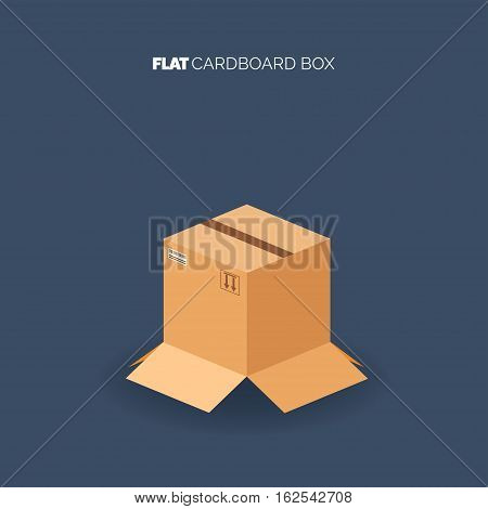 Carton cardboard box. Delivery and packaging. Transportation, shipping.Flat style.
