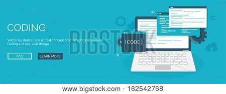 Vector illustration. Flat background. Coding, programming. SEO. Search engine optimization. App development, creation. Software, program code. Web design.