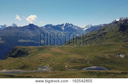 alpine valley views of fir trees and high alpine peaks