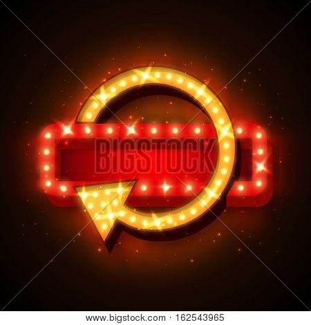 Neon frame sale offer with lights. Neon sign with arrow and glowing lights. Vector illustration of sale neon frame, arrow. 3D neon frame background for your sale banners, sale flayers or advertising