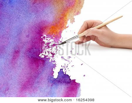 hand with brush and watercolor paint