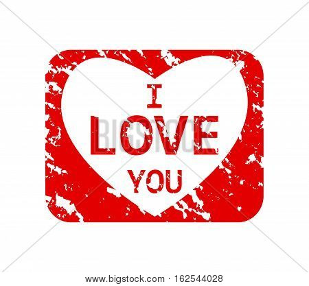 Rubber stamp with the word I love you isolated from the background, vector illustration.