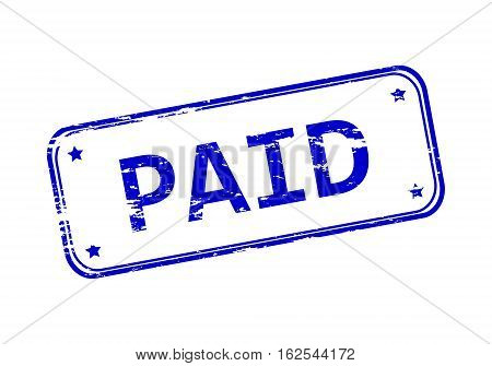Rubber stamp with the word paid isolated from the background, vector illustration.