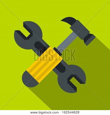Crossed wrench and hammer icon. Flat illustration of crossed wrench and hammer vector icon for web isolated on lime background
