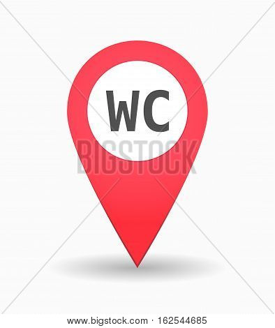 Isolated Map Mark With    The Text Wc