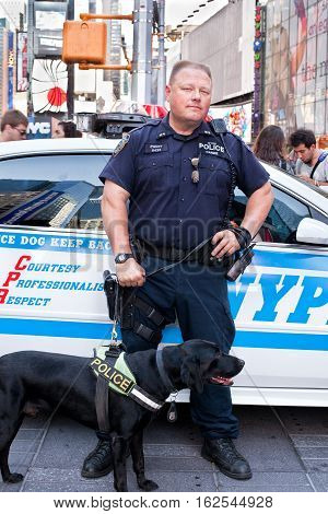 NEW YORK CITYUSA - september 23 2015: K-9 police officer and K-9 dog providing security on Times Square in front of a policecar