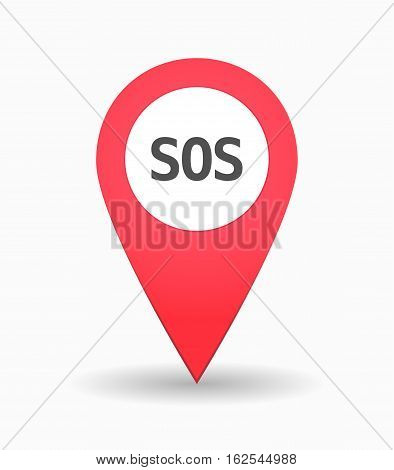 Isolated Map Mark With    The Text Sos