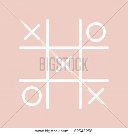 Tick-tac-toe or noughts and crosses game, vector icon, illustration on cute pink background.