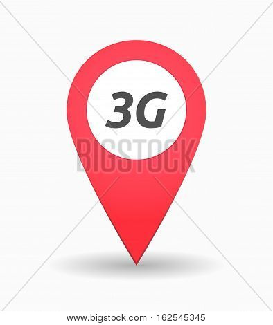 Isolated Map Mark With    The Text 3G